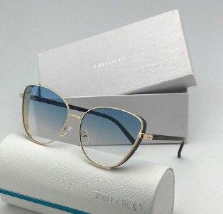 Солнцезащитные очки бабочки в стиле Jimmy Choo Джими Чу голубой градиент, глитер на боку оправы