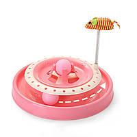 Іграшка-трек SUNROZ Cat Scratch Pan для кішок з двома м'ячиками Рожевий (SUN3808)