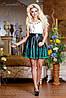 Юбка 0710Черная юбка кожа с перфорированным низом в виде кружева