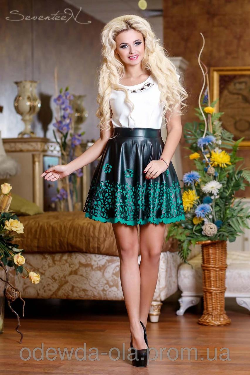 Юбка 0710Черная юбка кожа с перфорированным низом в виде кружева, фото 1