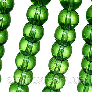 Бусины хрустальные Шар D- 8мм пачка - примерно 48шт, цвет - зеленый прозрачный