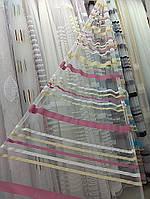 Тюль с горизонтальными полосами в розовых оттенках