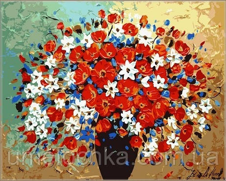 Картина по номерам Идейка Пестрый букет KH304