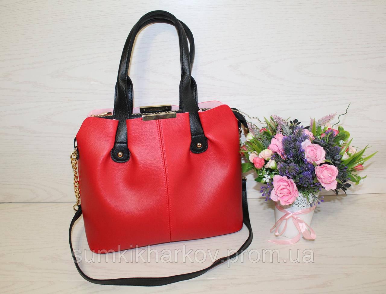 44e86e9f2aec Красная женская сумка три отделения с черными ручками длинным ремешком из  эко ...