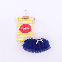 Летний комплект для девочки желтая футболка и синяя юбка