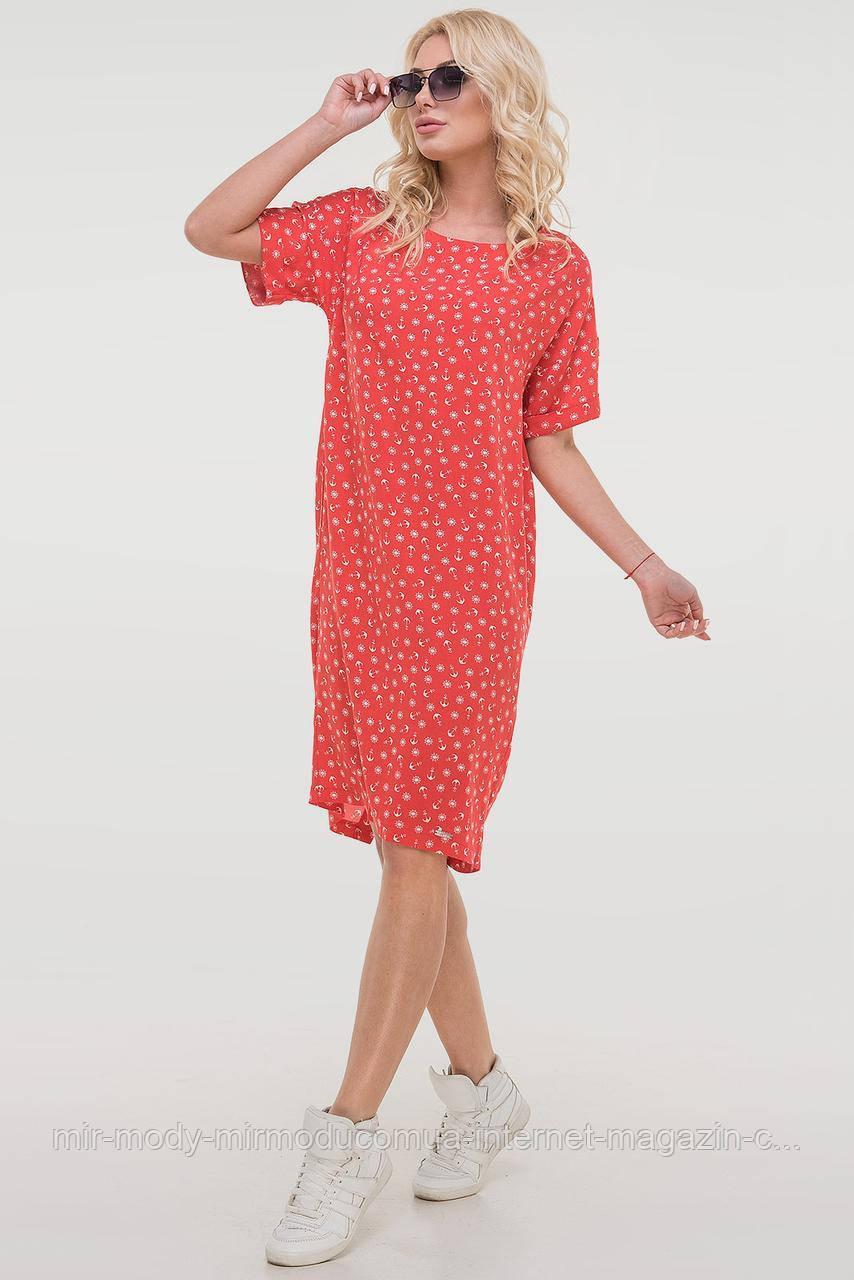 Летнее платье штапель красного цвета с 44 по 54  размер (влн)