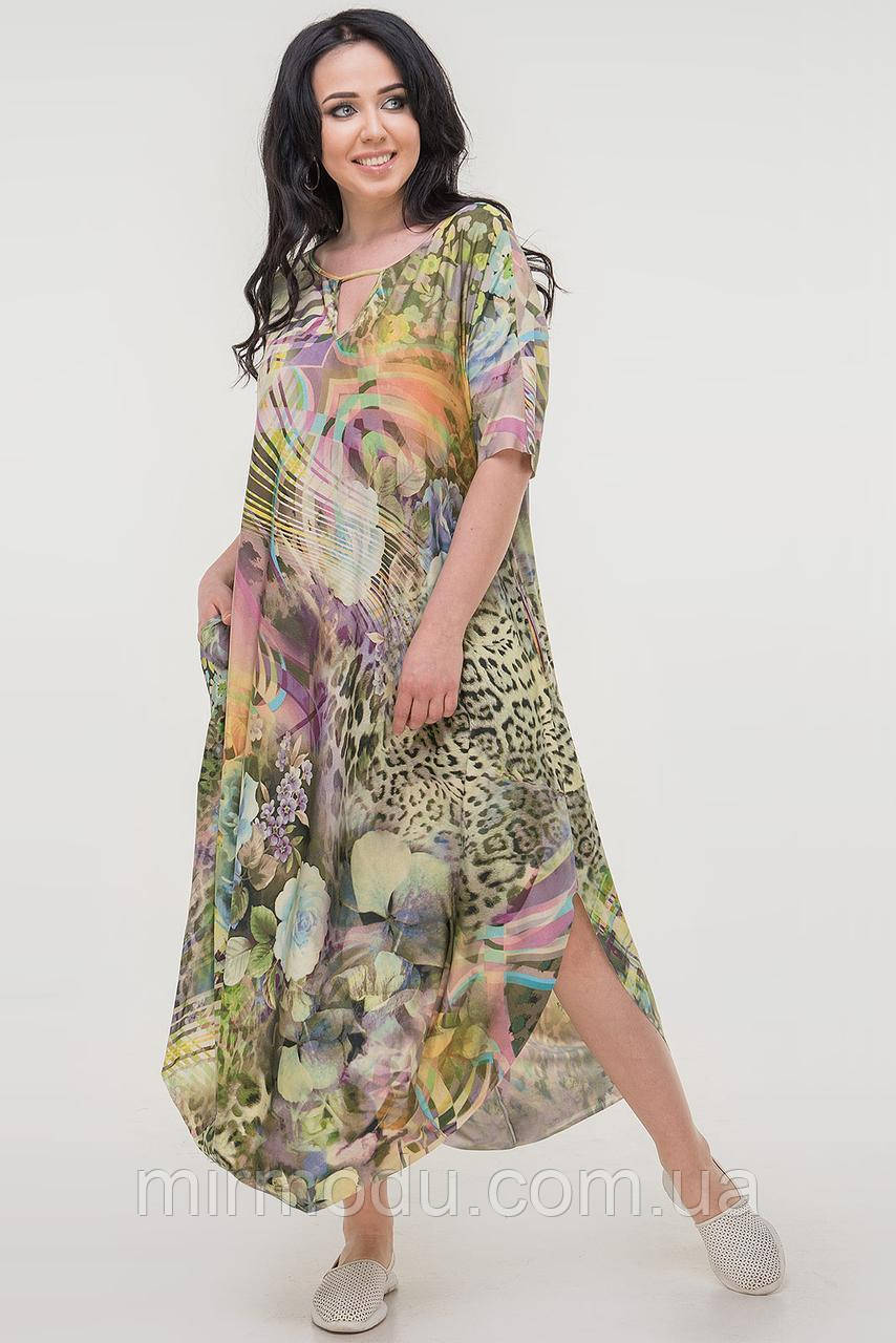 Летнее платье оверсайз зеленого тона купить в Украине (3 цвета)  (влн)
