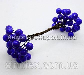 Калина лаковая D-12мм, 40 шт цвет - синий (электрик) (20 двухсторонних проволочек)