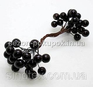 Калина лаковая D-12мм, 40 шт цвет - черный (20 двухсторонних проволочек)