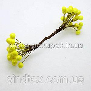 Калина лаковая D-8мм, 50 шт цвет - желтый (25 двухсторонних проволочек)