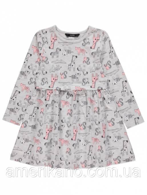 Хлопковое платье с длинным рукавом  на девочку 2-3 года, рост 92-98 см. Сафари. Джордж George Англия