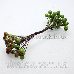Калина лаковая D-8мм, 50 шт цвет - зеленый с бочком (25 двухсторонних проволочек)