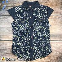e719a3618cb Джинсовая рубашка без рукава для девочек Размер  8 лет (8367)