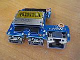 Плата с USB портами разъемом интернета и картридер 6050A2566901-usb HP ProBook 640 G1 бу, фото 2
