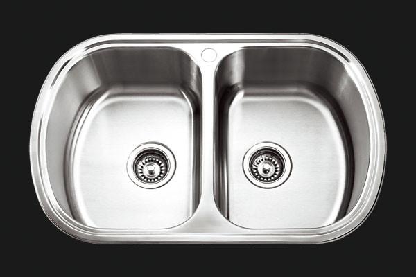 Кухонная мойка двойная Platinum 7749D Satin 0,8мм матовая