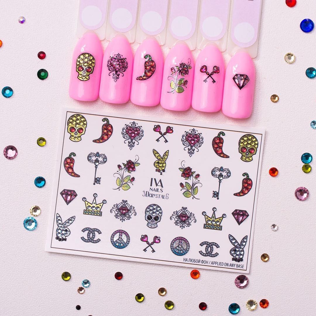 Слайдер-дизайн Fashion nails 3D Crystal - 3D наклейка на ногти - черепа, корона, ключик, кристал. Хэллоуин