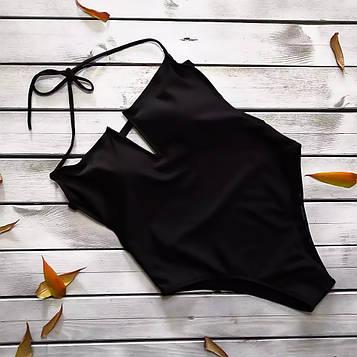 Сплошной женский черный купальник с V вырезом декольте S, М