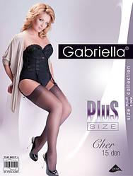 Женские чулки под пояс 15 den черный Gabriella plus size