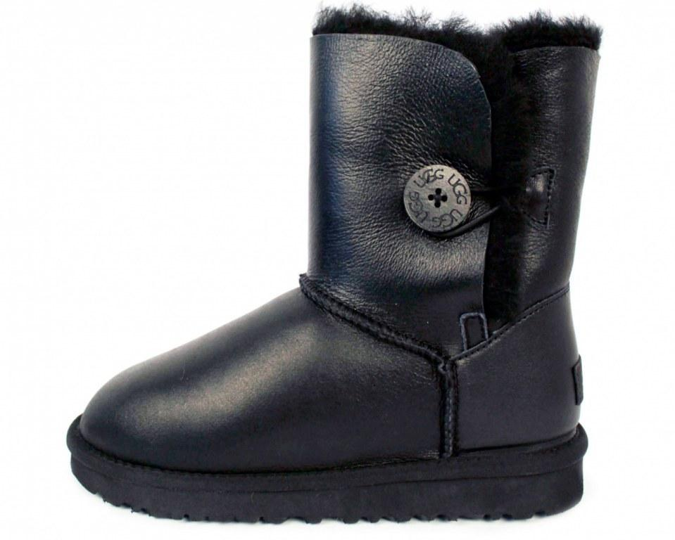 "UGG BAILEY BUTTON II BOOT LEATHER ""BLACK"" Арт. 0045 (Уценка)"