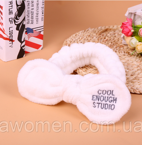 "Повязка на голову для умывания ""Cool enough studio"" бантик (белая)"