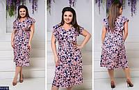 Женское платье,платье с коротким рукавом ,платья большие,платья в цветочек, фото 1
