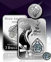 Зірка тисячоліття ~ Краса діамантів ~ Срібна монета з діамантом і високим рельєфом