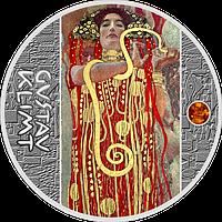 Клімт ~ Медицина ~ Срібна монета з бурштином у рамці