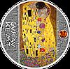 Клімт ~ Поцілунок ~ Срібна монета з бурштином у рамці