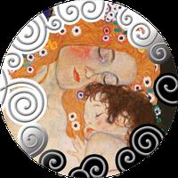 Материнство в мистецтві ~ Срібна монета з репродукцією картини Густава Клімта у рамці