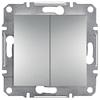 Выключатель Двухклавишный Самозажимные контакты Алюминий Schneider Asfora plus (EPH0300161)