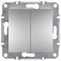 Выключатель Двухклавишный Самозажимные контакты Алюминий Schneider Asfora plus (EPH0300161), фото 1