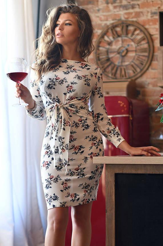 Шифоновое платье миди с цветочным принтом белое, фото 2