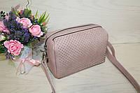 Пудра женская розовая сумочка с заклепками через плече
