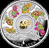 Щаслива 7 ~ Сім слоників ~ Срібна монета з позолоченим елементом у футлярі