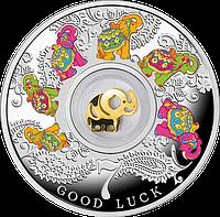 Щаслива 7 ~ Сім слоників ~ Срібна монета з позолоченим елементом у футлярі, фото 1