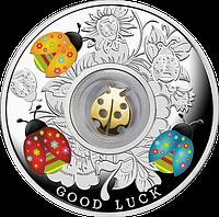 Щаслива 7 ~ Сім сонечок ~ Срібна монета з позолоченим елементом у футлярі, фото 1
