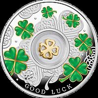 Щаслива 7 ~ Сім чотирилисників конюшини ~ Срібна монета з позолоченим елементом у футлярі, фото 1