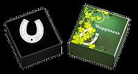 Щастя ~ Срібна монета-підвіска у формі підкови з кристалом Swarovski у футлярі, фото 1