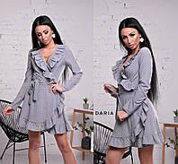 Женское платье на запах с воланами в расцветках. Ч-6-0319