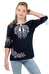 """Женская сорочка вышиванка """"Модерн"""", темно-синяя, размер 42 - 52"""