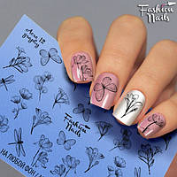 Слайдер-дизайн Fashion nails - наклейка на ногти - цветы, бабочка, стрекоза