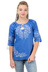 """Женская сорочка вышиванка """"Модерн"""", джинс, размер 42 - 52"""