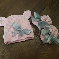 """Шапочка+ пинетки """" Розовая лента"""" для новорожденных"""