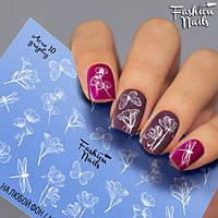 Слайдер-дизайн Fashion nails - наклейка на ногти - цветы , бабочки
