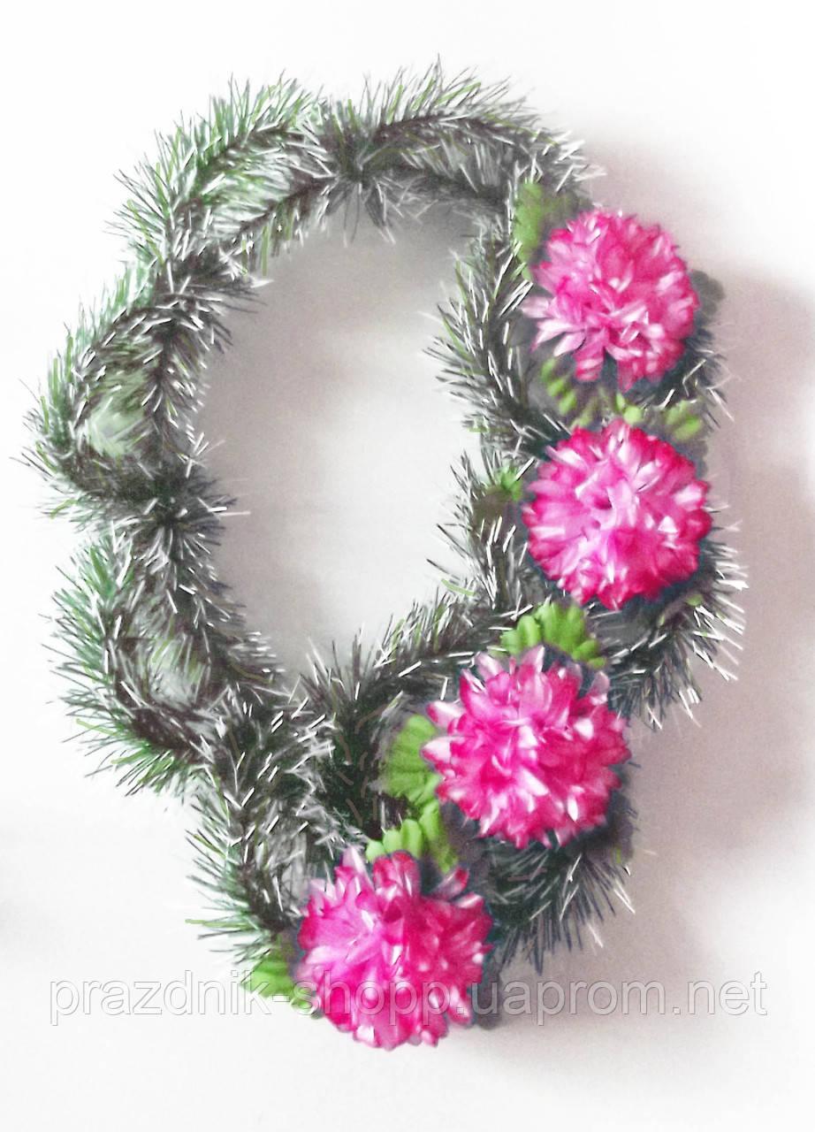 Венок искусственный , Хризантема розовая.