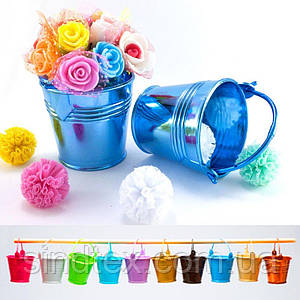 Пластиковое мини ведерко 5х5,5см (размер с ручкой 8,5х5,5см) Цена за 1шт Цвет - Голубой