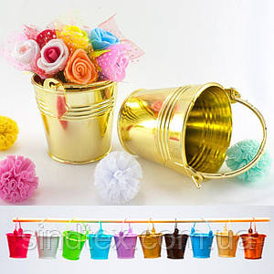 Пластиковое мини ведерко 5х5,5см (размер с ручкой 8,5х5,5см) Цена за 1шт Цвет - Золото