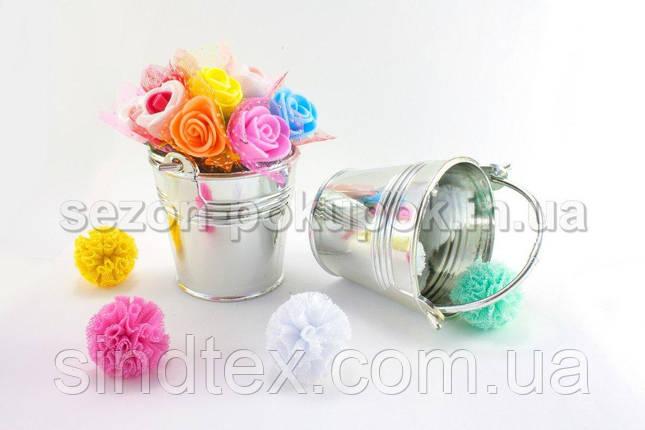 Пластиковое мини ведерко 5х5,5см (размер с ручкой 8,5х5,5см) Цена за 1шт Цвет - Серебро, фото 2
