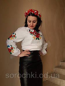 """Вышиванка женская , вышивка тамбурная , цветы ,  """"красные маки с васильками и колосками"""" ,  домотканная ткань"""