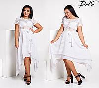 3065bf4461c Нарядное летнее женское платье прошва+хлопок батал 42-56 (3расцв)